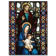 holy family stained glass image card