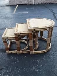 vintage rattan nesting tables nice set 3 vintage bentwood bamboo wicker rattan nesting stacking