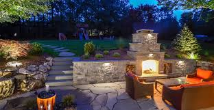 outdoor space custom fireplace retainer wall patio walkway greenlawn by design