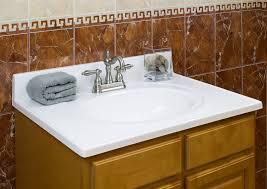 wood vanity top bathroom white tiles countertop square mirror