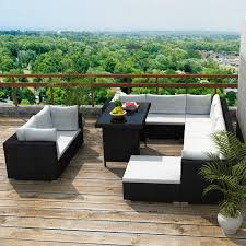 Outside Patio Furniture by Black 28 Pcs Outdoor Patio Furniture Sofa Set Black Lovdock Com