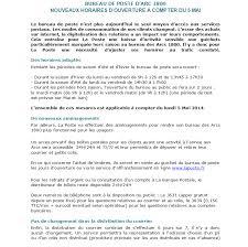 horaire ouverture bureau de poste les dernières infos de haute tarentaise par villeneuve
