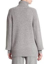 chloé cashmere turtleneck sweater in gray lyst