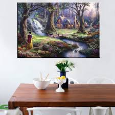 popular snow white thomas buy cheap snow white thomas lots from beautiful landscape prints canvas wall art thomas kinkade reproduction snow white fairy tale painting for kid