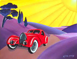 art deco vintage car painting by emma childs