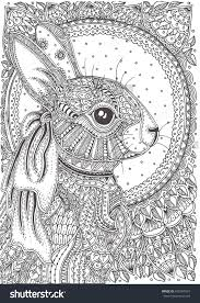 rabbit hand drawn with ethnic floral doodle pattern coloring page