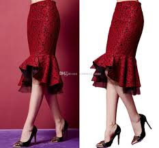2017 high waist lace mermaid skirts for women elegant knee length