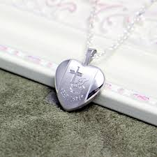 baptism necklace silver baptism locket necklace engraved with a cross and baptism