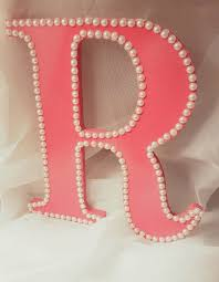 Decorated Letters For Nursery Pink Painted Letter R Bedroom Decor Initial Bow Holder Pearl