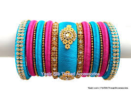 pink colors yaalz partywear bangle set in turquoise blue u0026 pink colors