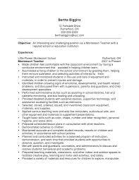 teacher resumes samples free resume cv cover letter montessori