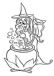 Kids Coloring Pages Halloween by Halloween Witch And Cat Coloring Page For Kids Printable Free