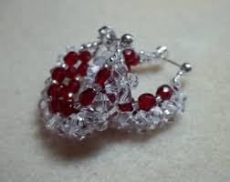 Ruby Red Long Brick Stitch Circular Brick Stitch Earring Tutorial Pdf Pattern Instant