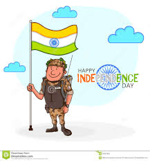 soldier with flag for indian independence day stock illustration