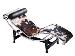 Esszimmerst Le Leder Design Cassina Lc4 Chaiselongue Verchromt Fell Gefleckt Schwarz Weiß