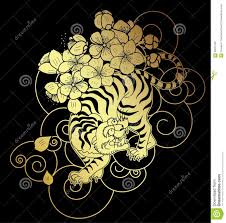 tiger with flower and japanese cloud tattoo design vector stock