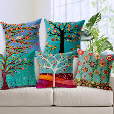 Patio Furniture Seat Covers - 28 styles pastoral flowers trees bird cushion covers tropical
