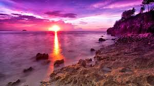 beach rocky sunset sea magenta rocks beach sunshine wallpaper