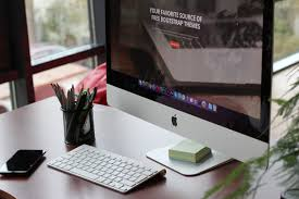 Organize Desk At Work Free Images Desk Screen Apple Keyboard Technology Workspace