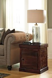 ashley t896 2 holifern warm brown square end table with cabinet door
