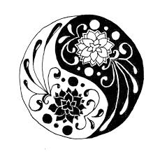 butterflies and flowers yin yang design