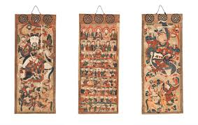 Light Colored Tapestry Art Of Priests And Shamans From Vietnam And Southern China Coming