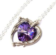 purple necklace images Amethyst necklace victorian heart necklace purple heart jpg