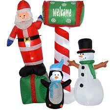 Large Inflatable Christmas Decorations Uk by Werchristmas Large Pre Lit Santa Penguin And Snowman Inflatable
