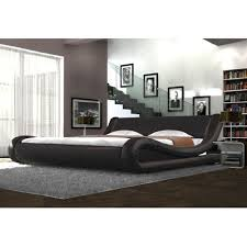faux leather brown curved bed frame modern italian designer bed