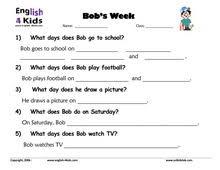 esl kids worksheets days of the week worksheets