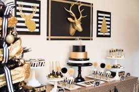 black and gold party decorations kara s party ideas modern black gold christmas party via kara s