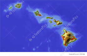 Us Relief Map Signs And Info Hawaii Shaded Relief Map Stock Illustration