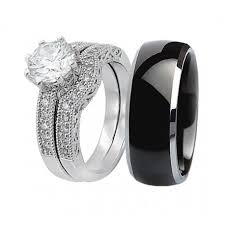 his and hers engagement rings his hers 3pcs black titanium matching band cut