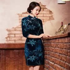 velvet qipao vestidos chinese traditional dress cheongsams vintage