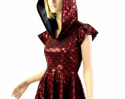 red dragon scale long sleeve hoodie skater dress with dragon