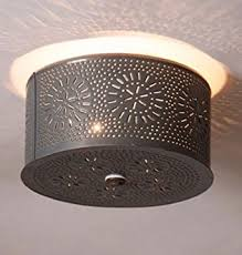 punched tin lighting fixtures primitive round ceiling light with chisel punched tin design country