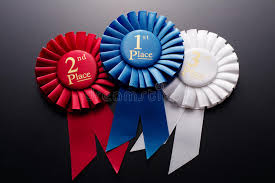 pleated ribbon 1st 2nd and 3rd place pleated ribbon rosettes stock photo image