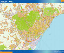 Map Of Barcelona Barcelona Area Wall Map Our Cartographers Have Made Barcelona
