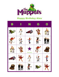 the muppets birthday personalized bingo cards
