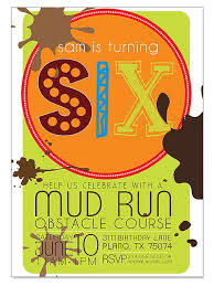 mud run obstacle course birthday invitation printable digital