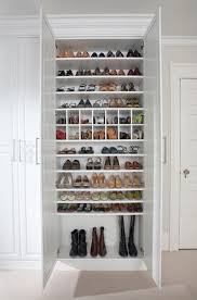 Shoe Closet With Doors White Painted Maple Dressing Room Westchester County Ny