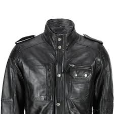 new mens classic black soft wax real leather smart vintage jacket
