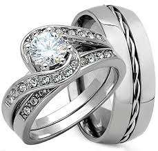 wedding ring sets cheap 3 pieces men s and women s his hers 925 genuine solid sterling