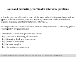 sample resume for marketing coordinator sales and marketing coordinator interview questions