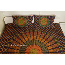 Orange King Size Duvet Covers Blue Orange Peacock Mandala With Pillows Bedding Cotton Bedsheet