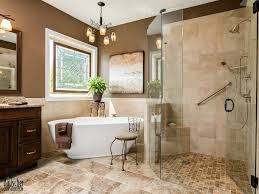 traditional master bathroom with handheld shower head raised