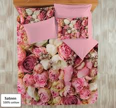Pink Rose Duvet Cover Set 3d Rose Bedding Sets Online King Size 6 Pcs Beddingeu
