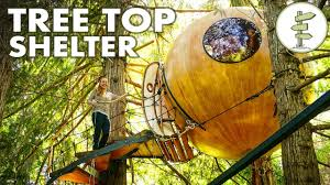 this hanging sphere is a tiny tree house tour