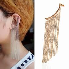 cuff earrings with chain lukeni free shipping 10pcs lot new fashion jewelry tassel ear