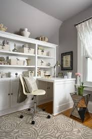 Ideas For Office Decor by Homely Design With Wide Wood Storage Facing Modern Cream Chair